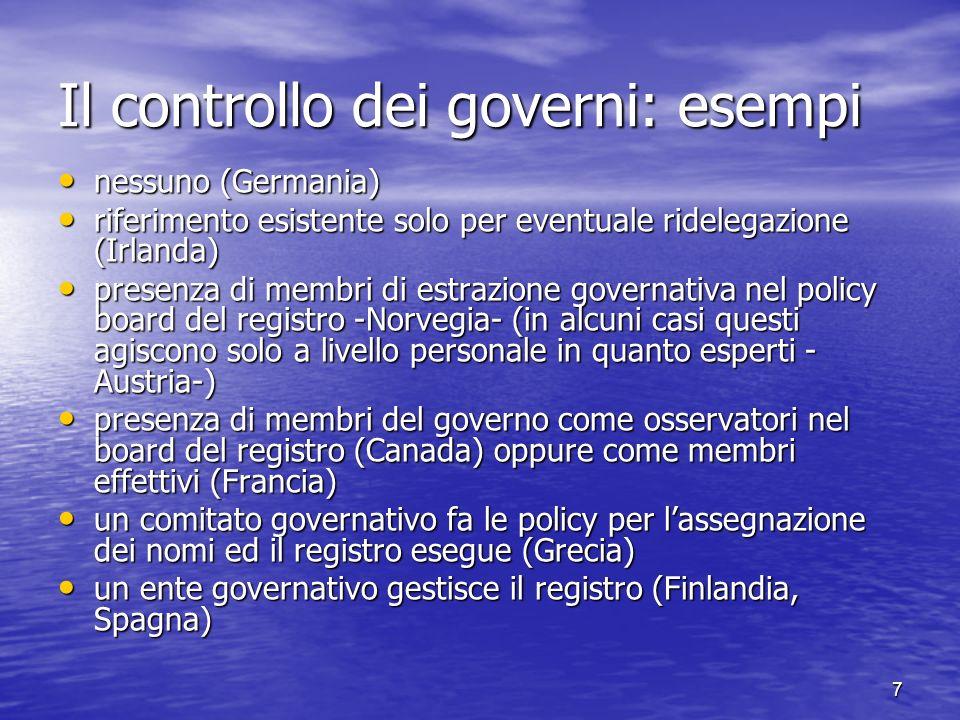 8 Influenza dei governi: vista dinsieme