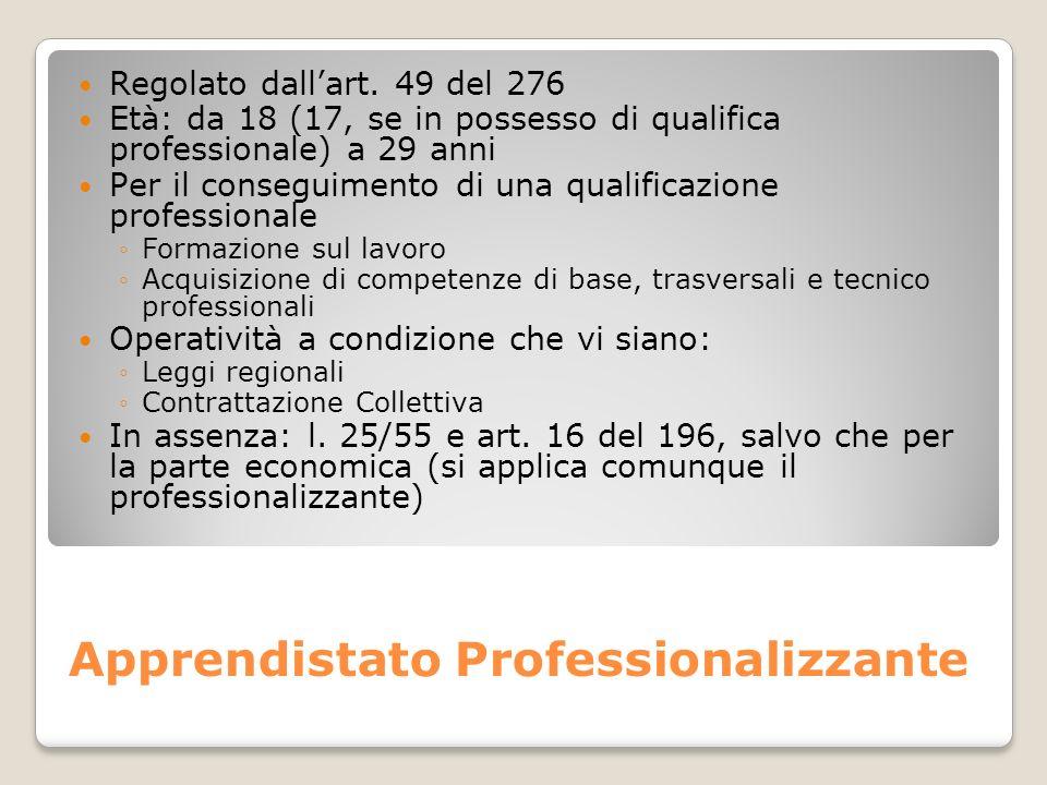 Apprendistato Professionalizzante Regolato dallart. 49 del 276 Età: da 18 (17, se in possesso di qualifica professionale) a 29 anni Per il conseguimen