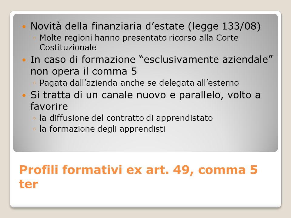 Profili formativi ex art. 49, comma 5 ter Novità della finanziaria destate (legge 133/08) Molte regioni hanno presentato ricorso alla Corte Costituzio