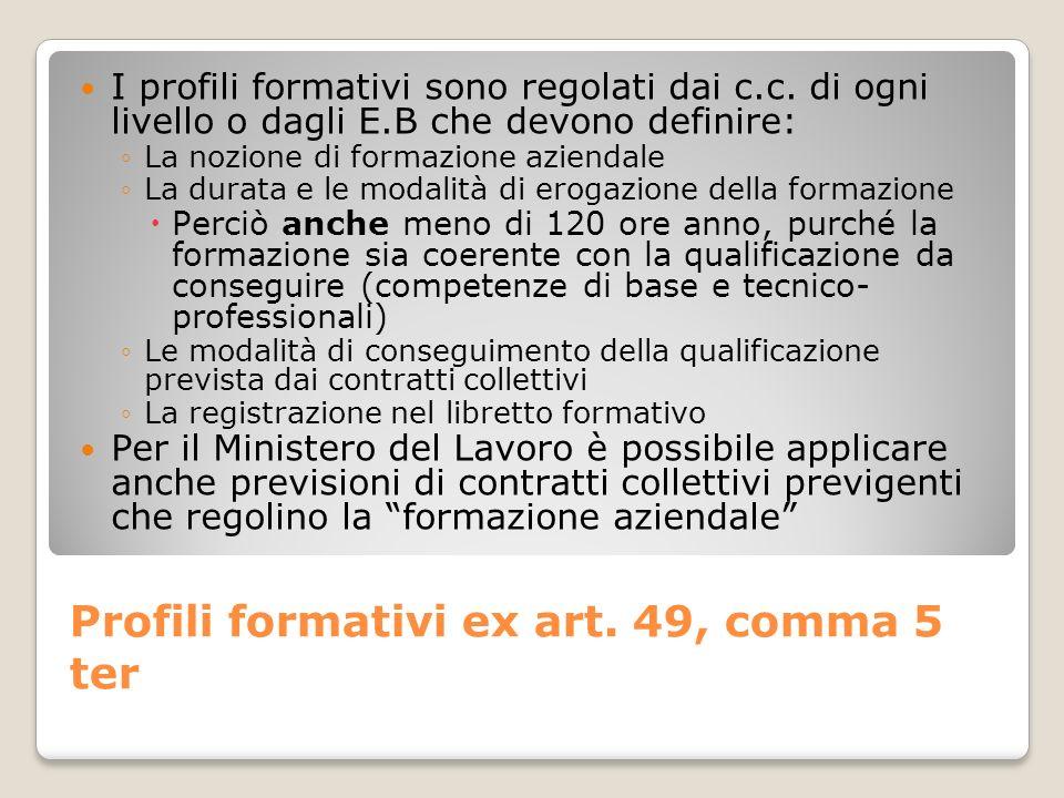 Profili formativi ex art. 49, comma 5 ter I profili formativi sono regolati dai c.c. di ogni livello o dagli E.B che devono definire: La nozione di fo