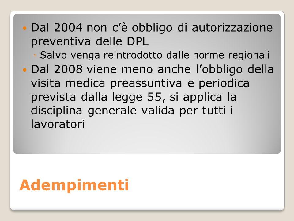 Adempimenti Dal 2004 non cè obbligo di autorizzazione preventiva delle DPL Salvo venga reintrodotto dalle norme regionali Dal 2008 viene meno anche lo