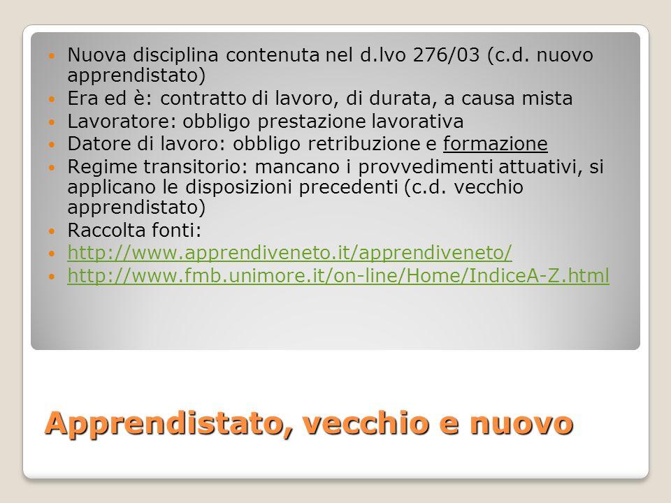Apprendistato, vecchio e nuovo Nuova disciplina contenuta nel d.lvo 276/03 (c.d. nuovo apprendistato) Era ed è: contratto di lavoro, di durata, a caus