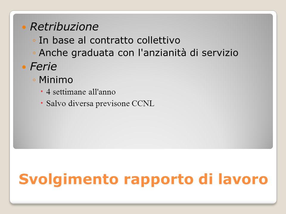 Svolgimento rapporto di lavoro Retribuzione In base al contratto collettivo Anche graduata con l'anzianità di servizio Ferie Minimo 4 settimane all'an