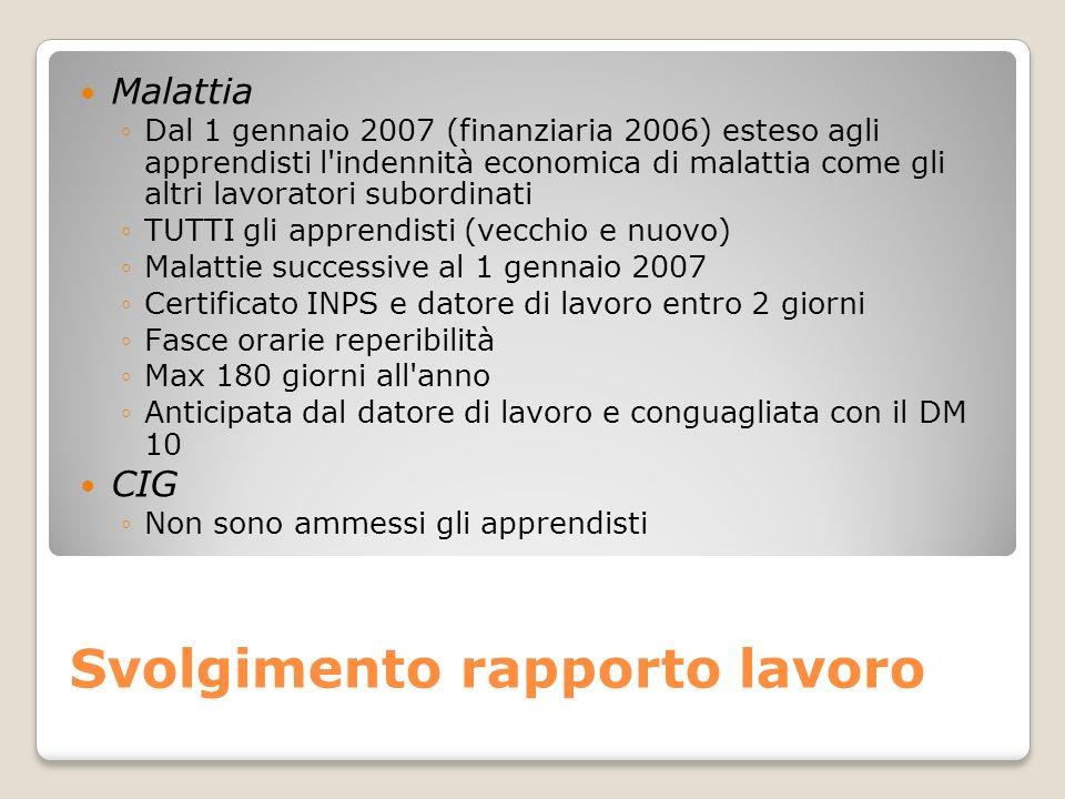 Svolgimento rapporto lavoro Malattia Dal 1 gennaio 2007 (finanziaria 2006) esteso agli apprendisti l'indennità economica di malattia come gli altri la