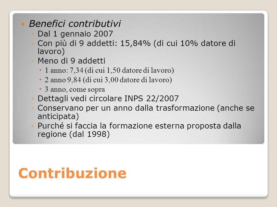 Contribuzione Benefici contributivi Dal 1 gennaio 2007 Con più di 9 addetti: 15,84% (di cui 10% datore di lavoro) Meno di 9 addetti 1 anno: 7,34 (di c