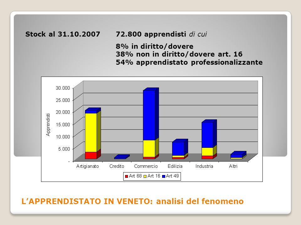 LAPPRENDISTATO IN VENETO: analisi del fenomeno Stock al 31.10.2007 72.800 apprendisti di cui 8% in diritto/dovere 38% non in diritto/dovere art. 16 54