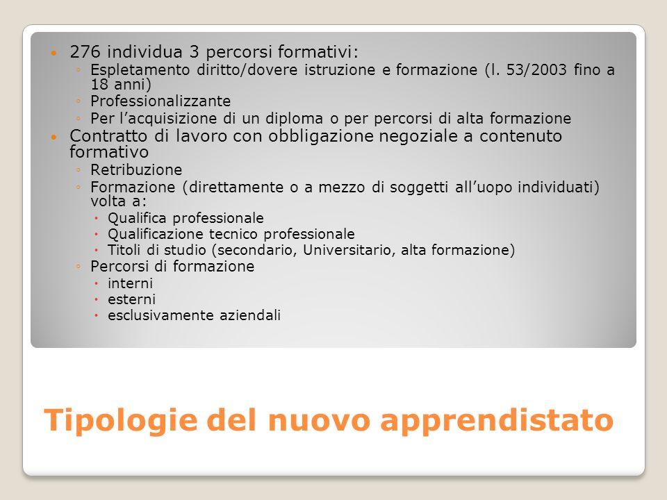Tipologie del nuovo apprendistato 276 individua 3 percorsi formativi: Espletamento diritto/dovere istruzione e formazione (l. 53/2003 fino a 18 anni)
