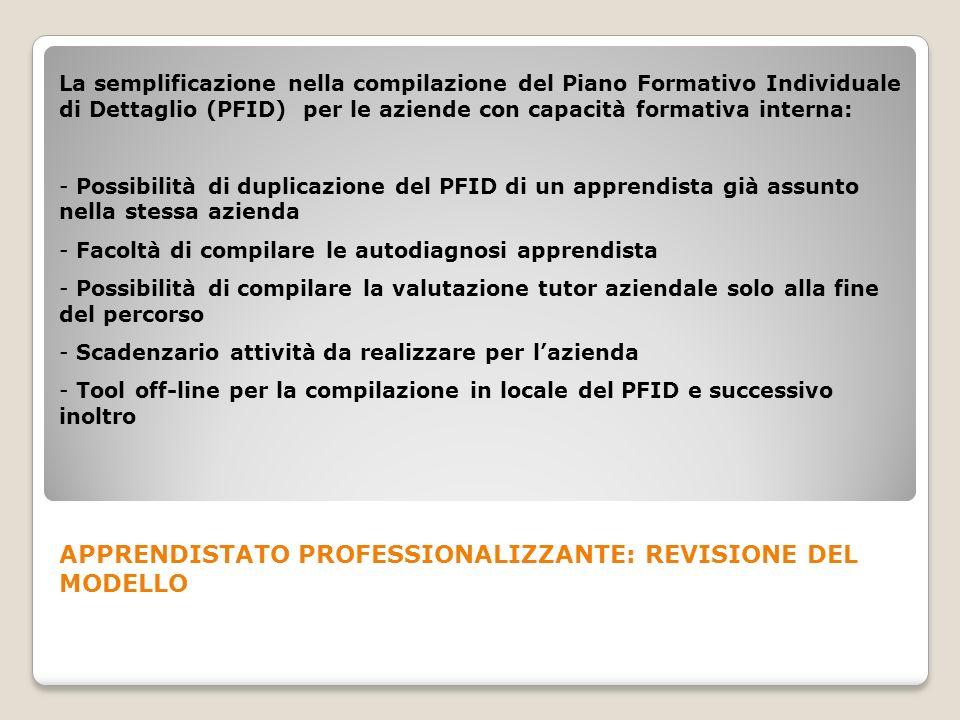 La semplificazione nella compilazione del Piano Formativo Individuale di Dettaglio (PFID) per le aziende con capacità formativa interna: - Possibilità