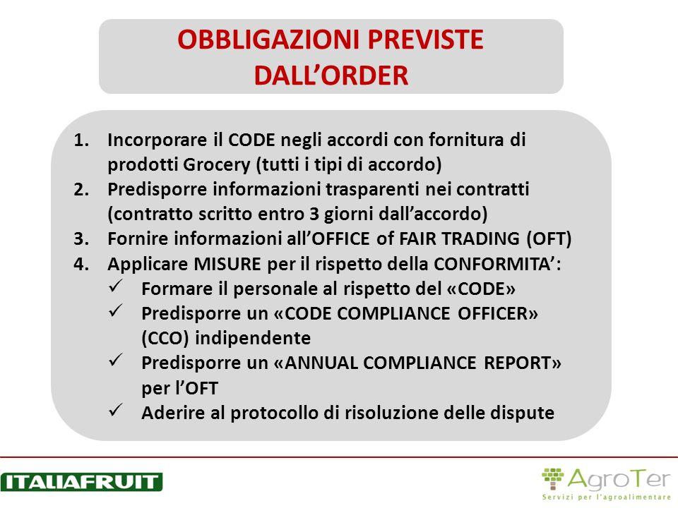 1.Incorporare il CODE negli accordi con fornitura di prodotti Grocery (tutti i tipi di accordo) 2.Predisporre informazioni trasparenti nei contratti (
