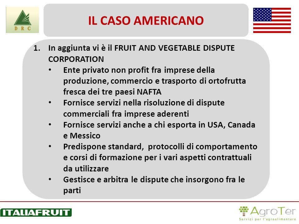 1.In aggiunta vi è il FRUIT AND VEGETABLE DISPUTE CORPORATION Ente privato non profit fra imprese della produzione, commercio e trasporto di ortofrutt