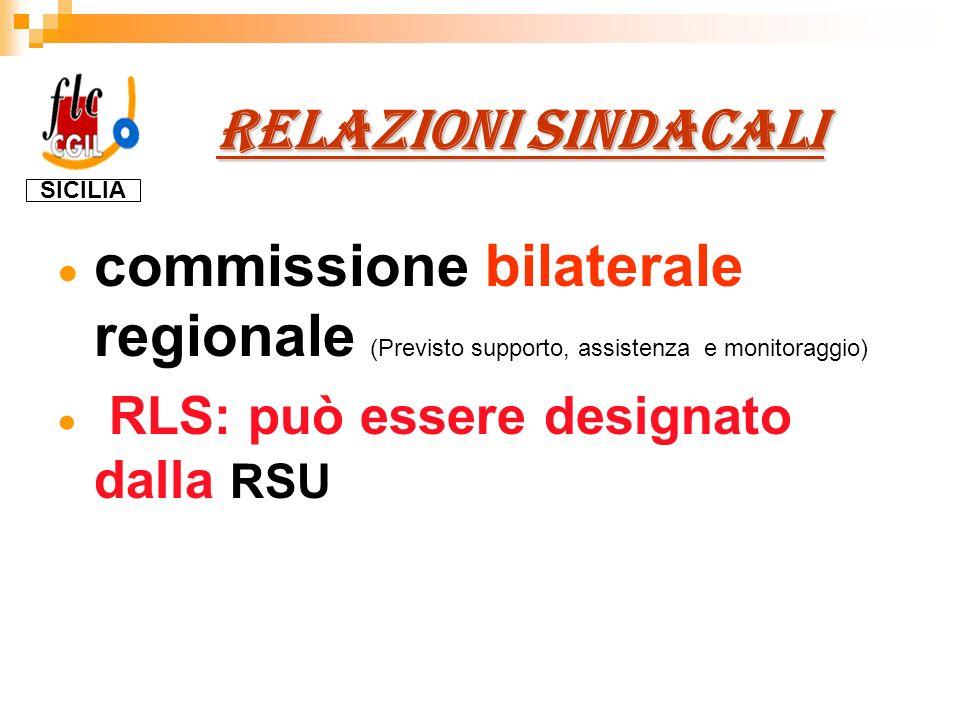 RELAZIONI SINDACALI RELAZIONI SINDACALI commissione bilaterale regionale (Previsto supporto, assistenza e monitoraggio) RLS: può essere designato dalla RSU SICILIA