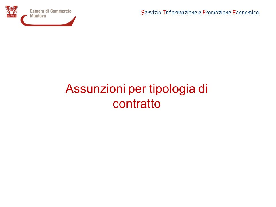 Servizio Informazione e Promozione Economica Assunzioni per tipologia di contratto