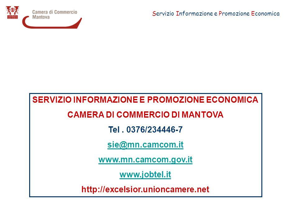 Servizio Informazione e Promozione Economica SERVIZIO INFORMAZIONE E PROMOZIONE ECONOMICA CAMERA DI COMMERCIO DI MANTOVA Tel.
