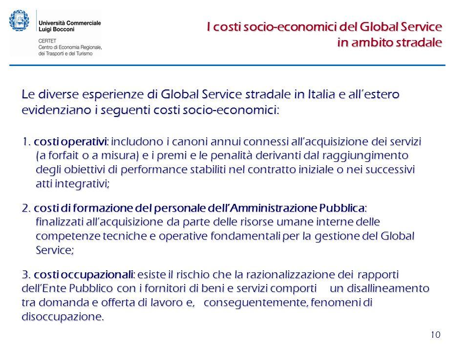 10 I costi socio-economici del Global Service in ambito stradale 1. costi operativi: includono i canoni annui connessi allacquisizione dei servizi (a