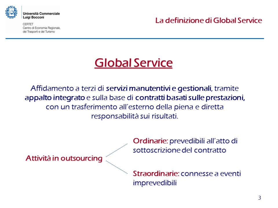 3 La definizione di Global Service Global Service Affidamento a terzi di servizi manutentivi e gestionali, tramite appalto integrato e sulla base di contratti basati sulle prestazioni, con un trasferimento allesterno della piena e diretta responsabilità sui risultati.