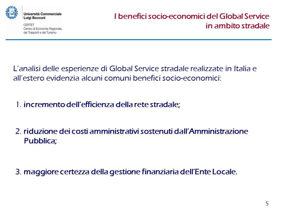 5 I benefici socio-economici del Global Service in ambito stradale 1. incremento dellefficienza della rete stradale; 2. riduzione dei costi amministra