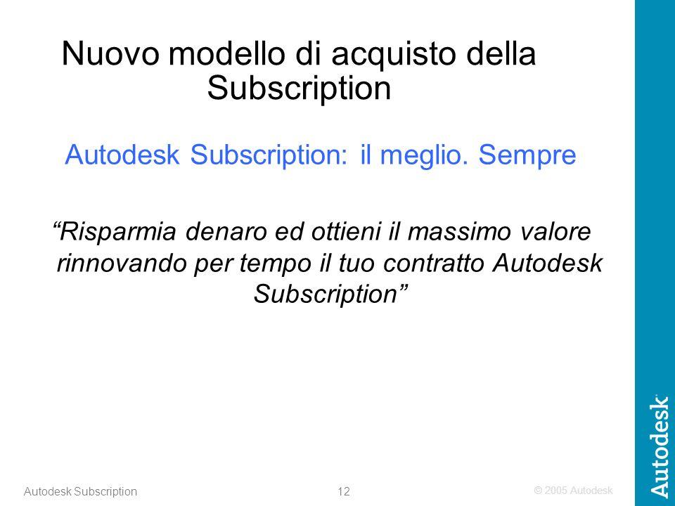 © 2005 Autodesk 12 Autodesk Subscription Nuovo modello di acquisto della Subscription Autodesk Subscription: il meglio.