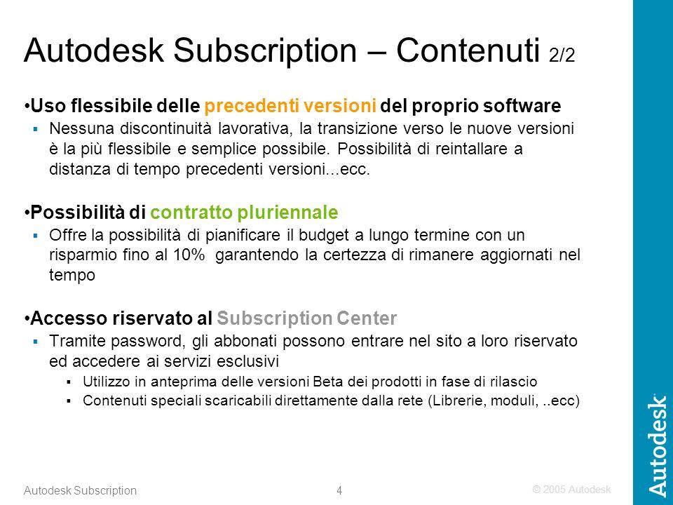 © 2005 Autodesk 4 Autodesk Subscription Autodesk Subscription – Contenuti 2/2 Uso flessibile delle precedenti versioni del proprio software Nessuna discontinuità lavorativa, la transizione verso le nuove versioni è la più flessibile e semplice possibile.