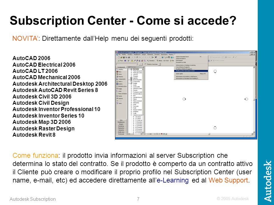 © 2005 Autodesk 8 Autodesk Subscription Subscription Center – Supporto tecnico on-line per linstallazione e la configurazione Risposta al quesito in max 2 ore Risoluzione del problema in max 3 giorni Servizio attivo dalle h.9 alle h.17 dal Lunedì al Venerdì