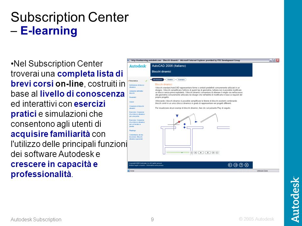 © 2005 Autodesk 9 Autodesk Subscription Subscription Center – E-learning Nel Subscription Center troverai una completa lista di brevi corsi on-line, c