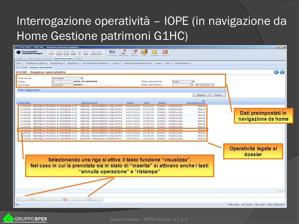 Gruppo Finanza – BPER Services S.C.p.A. Interrogazione operatività – IOPE (in navigazione da Home Gestione patrimoni G1HC) Dati preimpostati in naviga