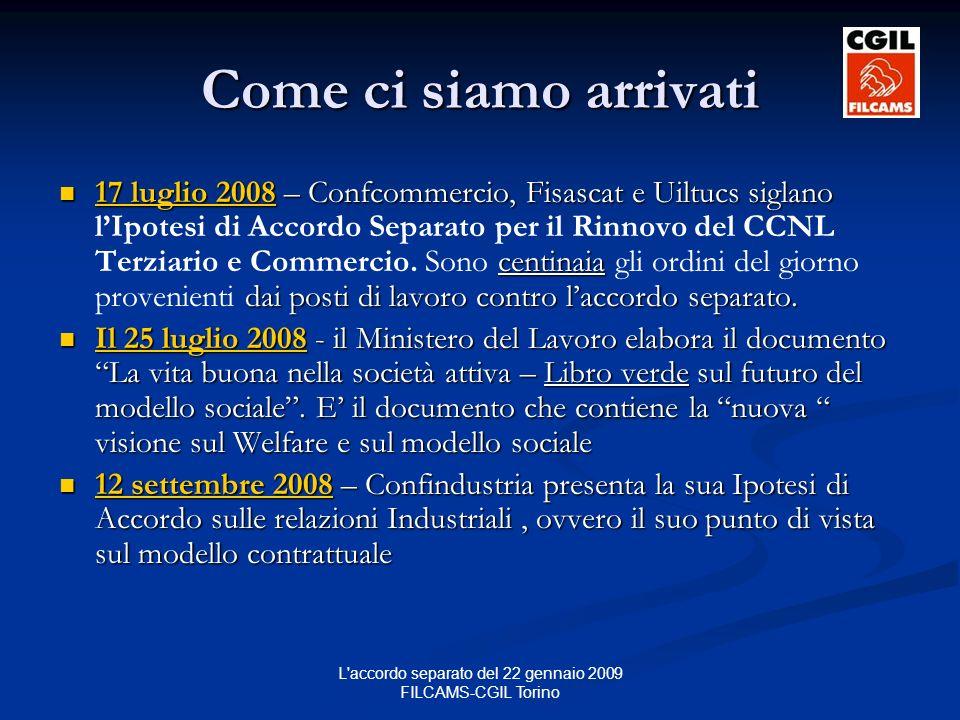 L accordo separato del 22 gennaio 2009 FILCAMS-CGIL Torino Come ci siamo arrivati 17 luglio 2008 – Confcommercio, Fisascat e Uiltucs siglano centinaia dai posti di lavoro contro laccordo separato.