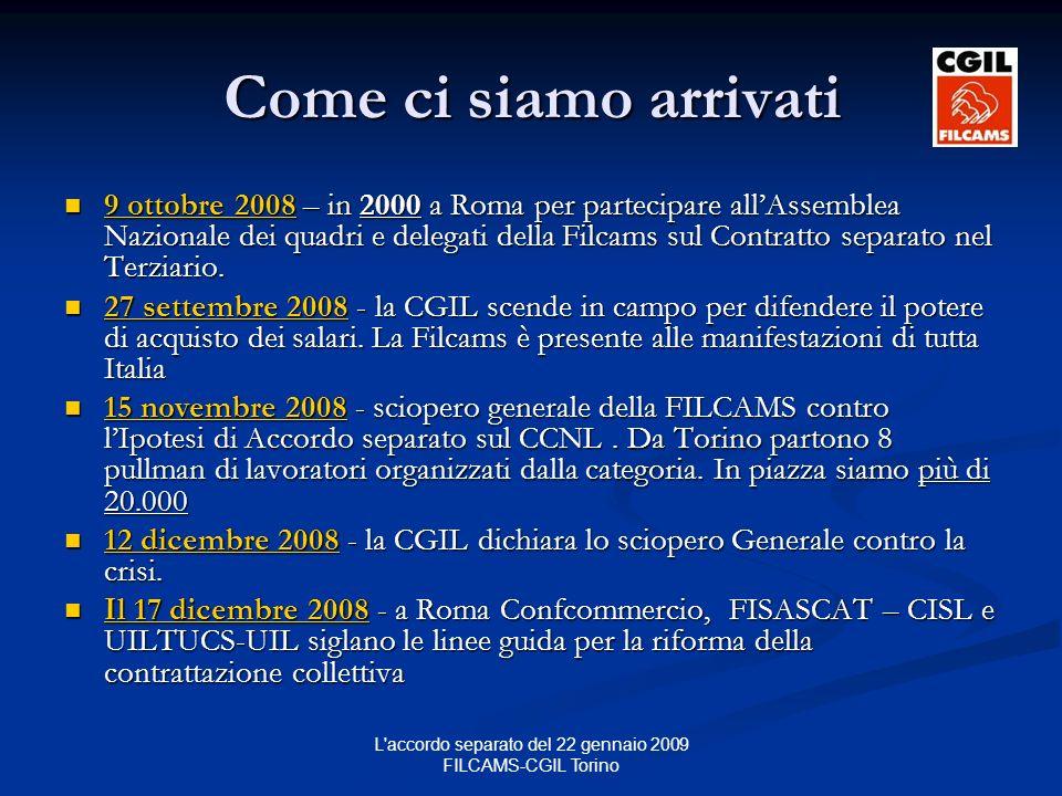 L accordo separato del 22 gennaio 2009 FILCAMS-CGIL Torino Come ci siamo arrivati 9 ottobre 2008 – in 2000 a Roma per partecipare allAssemblea Nazionale dei quadri e delegati della Filcams sul Contratto separato nel Terziario.