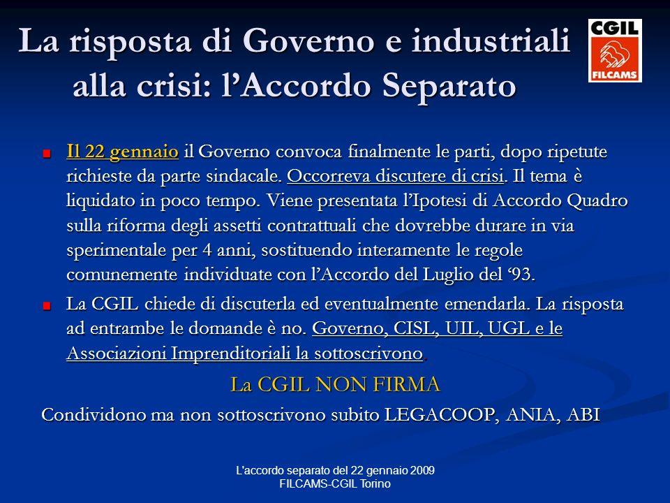 L accordo separato del 22 gennaio 2009 FILCAMS-CGIL Torino La risposta di Governo e industriali alla crisi: lAccordo Separato Il 22 gennaio il Governo convoca finalmente le parti, dopo ripetute richieste da parte sindacale.