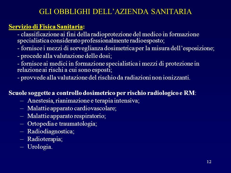 GLI OBBLIGHI DELLAZIENDA SANITARIA Servizio di Fisica Sanitaria: - classificazione ai fini della radioprotezione del medico in formazione specialistic