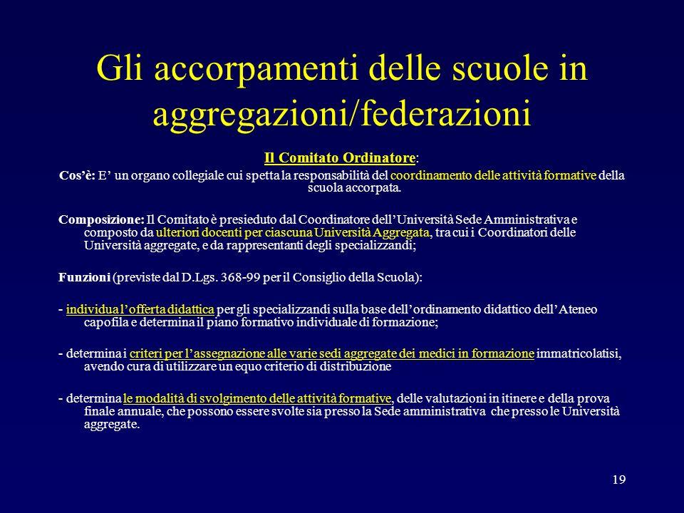 Gli accorpamenti delle scuole in aggregazioni/federazioni Il Comitato Ordinatore: Cosè: E un organo collegiale cui spetta la responsabilità del coordi