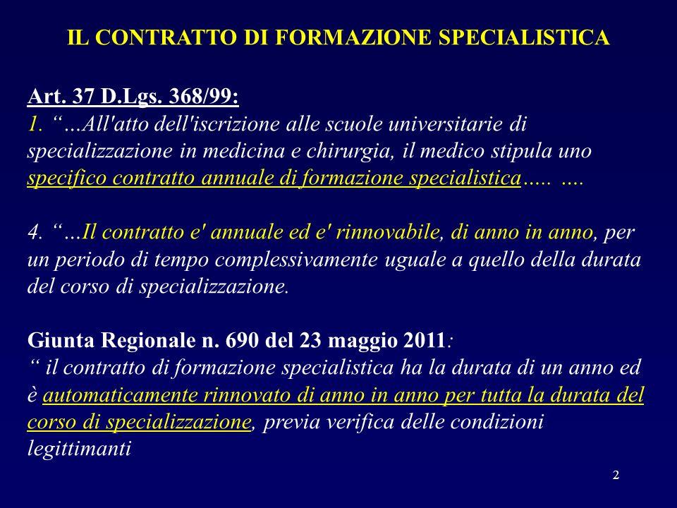 IL CONTRATTO DI FORMAZIONE SPECIALISTICA Art. 37 D.Lgs. 368/99: 1. …All'atto dell'iscrizione alle scuole universitarie di specializzazione in medicina