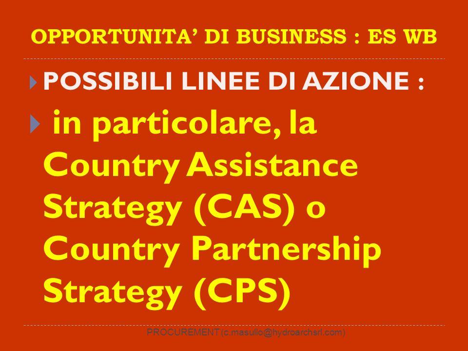 PROCUREMENT (c.masullo@hydroarchsrl.com) OPPORTUNITA DI BUSINESS : ES WB POSSIBILI LINEE DI AZIONE : in particolare, la Country Assistance Strategy (CAS) o Country Partnership Strategy (CPS)