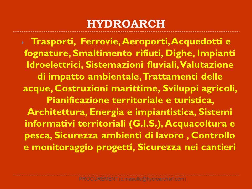 HYDROARCH Trasporti, Ferrovie, Aeroporti, Acquedotti e fognature, Smaltimento rifiuti, Dighe, Impianti Idroelettrici, Sistemazioni fluviali, Valutazio