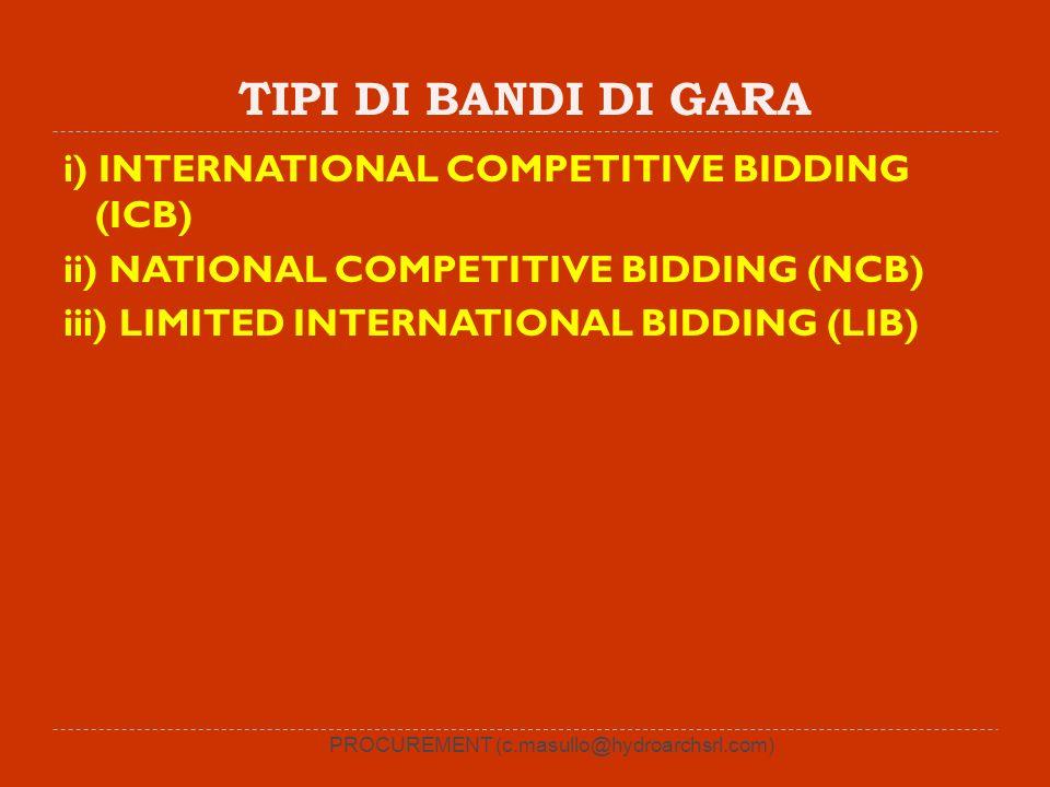 TIPI DI BANDI DI GARA i) INTERNATIONAL COMPETITIVE BIDDING (ICB) ii) NATIONAL COMPETITIVE BIDDING (NCB) iii) LIMITED INTERNATIONAL BIDDING (LIB) PROCU