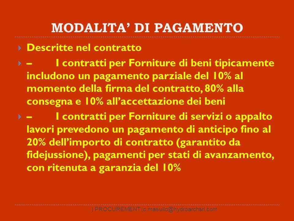 MODALITA DI PAGAMENTO Descritte nel contratto – I contratti per Forniture di beni tipicamente includono un pagamento parziale del 10% al momento della