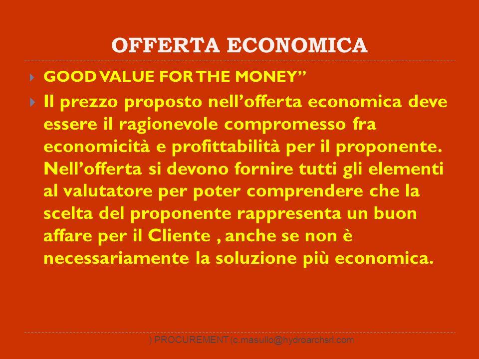 OFFERTA ECONOMICA GOOD VALUE FOR THE MONEY Il prezzo proposto nellofferta economica deve essere il ragionevole compromesso fra economicità e profittabilità per il proponente.