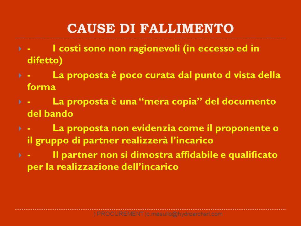 CAUSE DI FALLIMENTO - I costi sono non ragionevoli (in eccesso ed in difetto) - La proposta è poco curata dal punto d vista della forma - La proposta