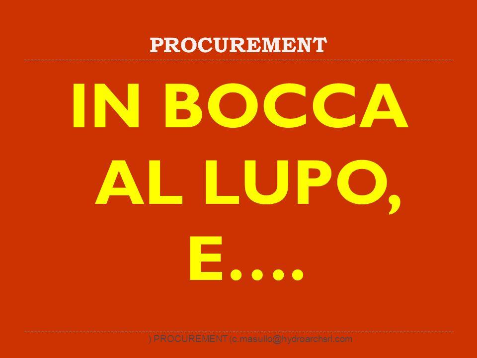 PROCUREMENT IN BOCCA AL LUPO, E…. ) PROCUREMENT (c.masullo@hydroarchsrl.com