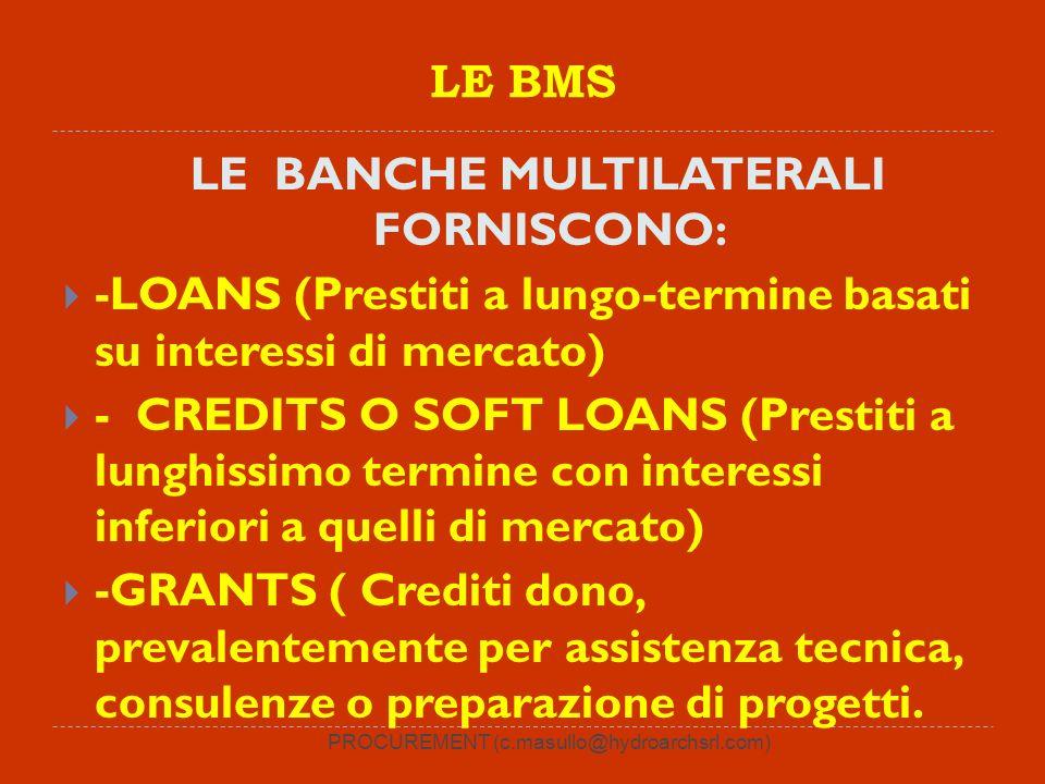 PROCUREMENT (c.masullo@hydroarchsrl.com) LE BMS LE BANCHE MULTILATERALI FORNISCONO: -LOANS (Prestiti a lungo-termine basati su interessi di mercato) - CREDITS O SOFT LOANS (Prestiti a lunghissimo termine con interessi inferiori a quelli di mercato) -GRANTS ( Crediti dono, prevalentemente per assistenza tecnica, consulenze o preparazione di progetti.