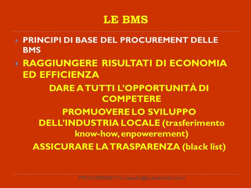 PROCUREMENT (c.masullo@hydroarchsrl.com) LE BMS PRINCIPI DI BASE DEL PROCUREMENT DELLE BMS RAGGIUNGERE RISULTATI DI ECONOMIA ED EFFICIENZA DARE A TUTTI LOPPORTUNITÀ DI COMPETERE PROMUOVERE LO SVILUPPO DELLINDUSTRIA LOCALE (trasferimento know-how, enpowerement) ASSICURARE LA TRASPARENZA (black list)