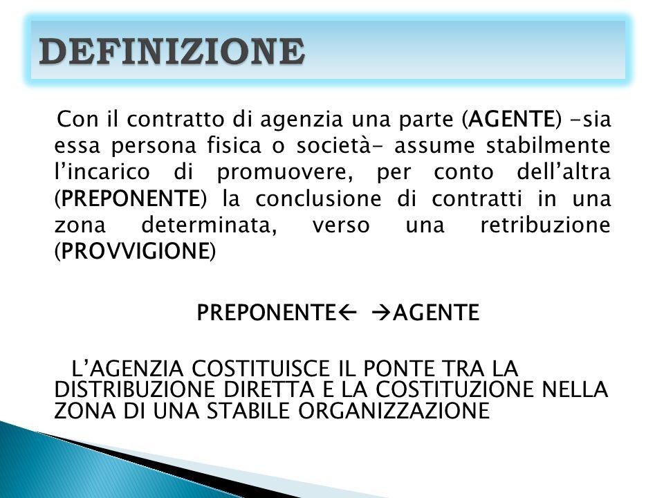 Con il contratto di agenzia una parte (AGENTE) -sia essa persona fisica o società- assume stabilmente lincarico di promuovere, per conto dellaltra (PREPONENTE) la conclusione di contratti in una zona determinata, verso una retribuzione (PROVVIGIONE) PREPONENTE AGENTE LAGENZIA COSTITUISCE IL PONTE TRA LA DISTRIBUZIONE DIRETTA E LA COSTITUZIONE NELLA ZONA DI UNA STABILE ORGANIZZAZIONE