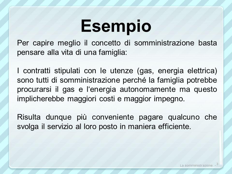 Esempio Per capire meglio il concetto di somministrazione basta pensare alla vita di una famiglia: I contratti stipulati con le utenze (gas, energia e