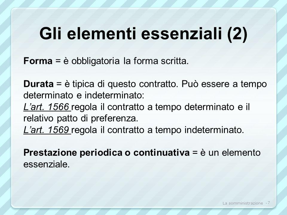 Gli elementi essenziali (2) Forma = è obbligatoria la forma scritta.