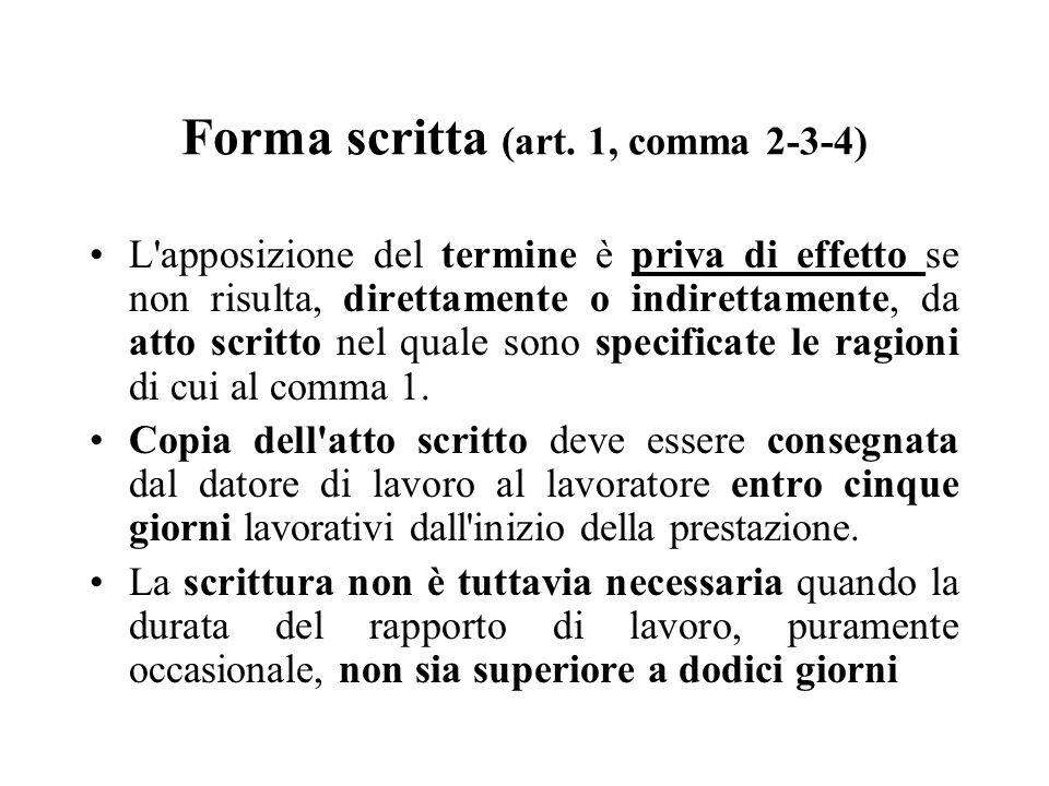 Forma scritta (art. 1, comma 2-3-4) L'apposizione del termine è priva di effetto se non risulta, direttamente o indirettamente, da atto scritto nel qu