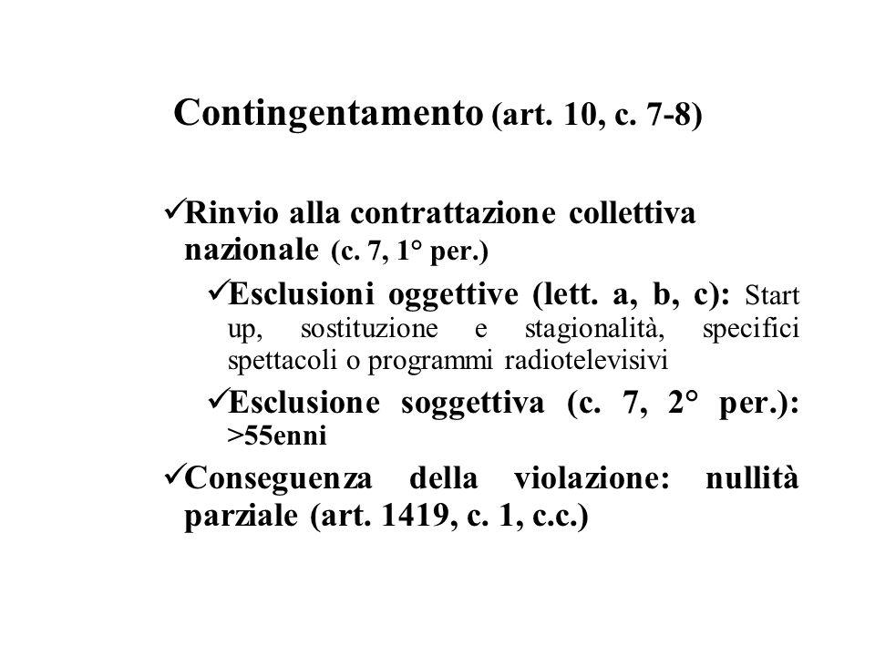 Contingentamento (art. 10, c. 7-8) Rinvio alla contrattazione collettiva nazionale (c. 7, 1° per.) Esclusioni oggettive (lett. a, b, c): Start up, sos