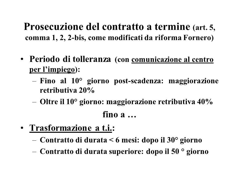 Prosecuzione del contratto a termine (art. 5, comma 1, 2, 2-bis, come modificati da riforma Fornero) Periodo di tolleranza (con comunicazione al centr