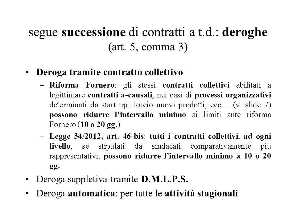 segue successione di contratti a t.d.: deroghe (art. 5, comma 3) Deroga tramite contratto collettivo –Riforma Fornero: gli stessi contratti collettivi