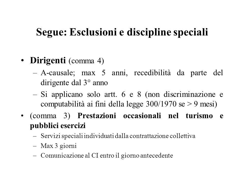 Segue: Esclusioni e discipline speciali Dirigenti (comma 4) –A-causale; max 5 anni, recedibilità da parte del dirigente dal 3° anno –Si applicano solo