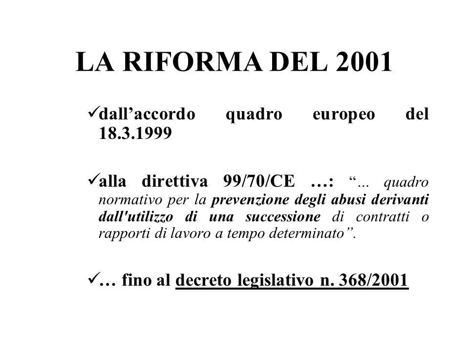 LA RIFORMA DEL 2001 dallaccordo quadro europeo del 18.3.1999 alla direttiva 99/70/CE …:… quadro normativo per la prevenzione degli abusi derivanti dal