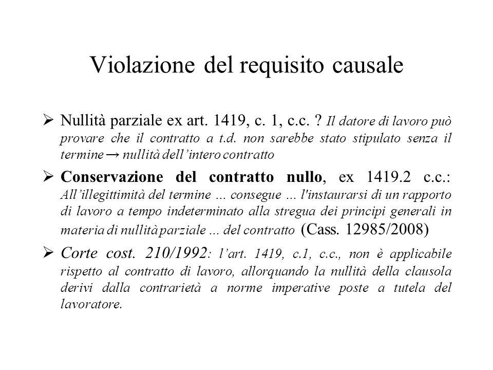 Violazione del requisito causale Nullità parziale ex art. 1419, c. 1, c.c. ? Il datore di lavoro può provare che il contratto a t.d. non sarebbe stato